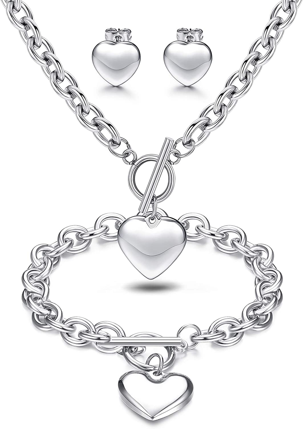 LOYALLOOK 3Sets Heart Pendant Necklace Toggle Chain Heart Bracelet Heart Stud Earrings for Women Stainless Steel Charm Love Heart Jewelry Set for Mother's Day