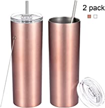 2 Pack Stainless Steel Skinny Tumbler, 20 OZ Double-Insulated Water Tumbler Cup With Lid and Straw, Outdoor Unbreakable Travel Slim Bottle for Hot Cold Drinks with Cleaning Brush(Rose Gold)