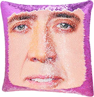 """URSKYTOUS Reversible Nicolas Cage Sequin Pillow Case Decorative Mermaid Pillow Cover Color Changing Cushion Throw Pillowcase 16"""" x 16"""",Nicolas and Purple"""