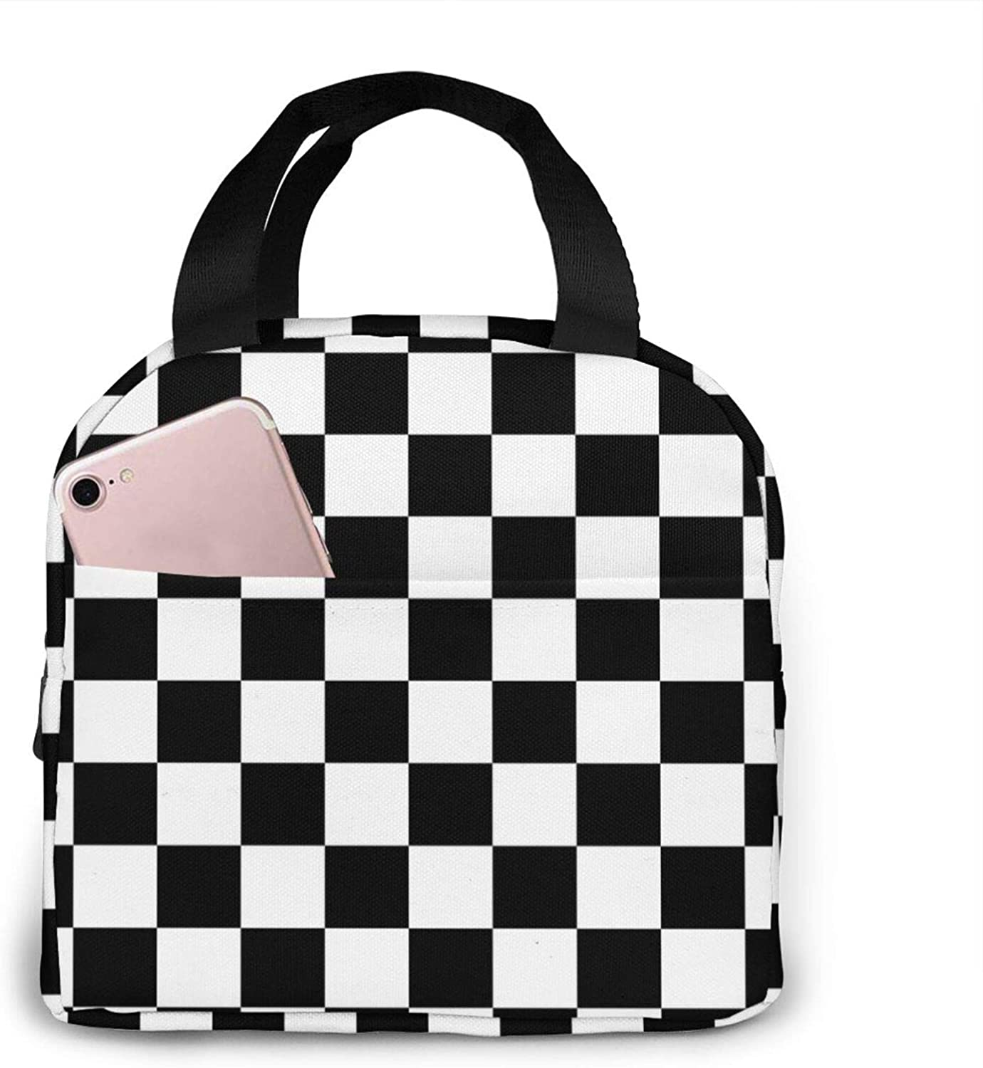 Checker Board Lunch Bag For Women Insulated Lunch Box Reusable Cooler Tote Bag For Work Picnic Travel
