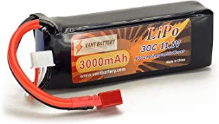 11.1V 3000mAh 3S Cell 30C-60C LiPo Battery Pack w/ Deans T-Plug Connector Plug (Airplane Helicopter Quadcopter Multirotor Drone UAV FPV 3S3000-30-EC3 EFLB30003S30)
