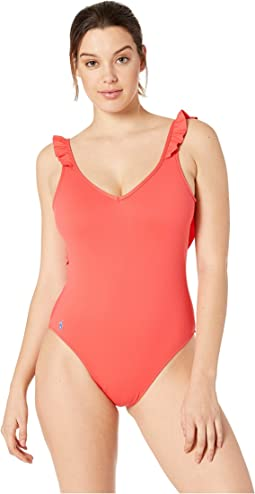Modern Solids Ruffle Back One-Piece Swimsuit