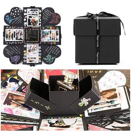EKKONG Esplosione Box Scrapbook Creative DIY Photo Album - Album Fotografico Fai da Te Album Fotografico Creativo per Il Regalo di Compleanno di Compleanno Anniversario di San Valentinoi (Nero)