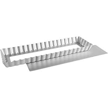 Fat Daddio's Anodized Aluminum Square/Rectangle Tarts, 13.75 Inches by 4.25 Inches by 1 Inch