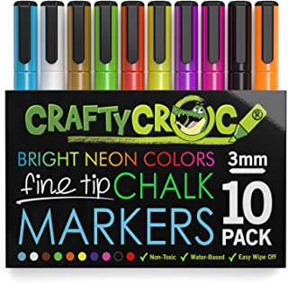 Crafty Croc Fine Tip Chalk Markers - (Precise 3mm Tip, 10 Neon Colors) - Erasable Dustless Liquid Chalk Ink Pens, Water-Based, Non-Toxic