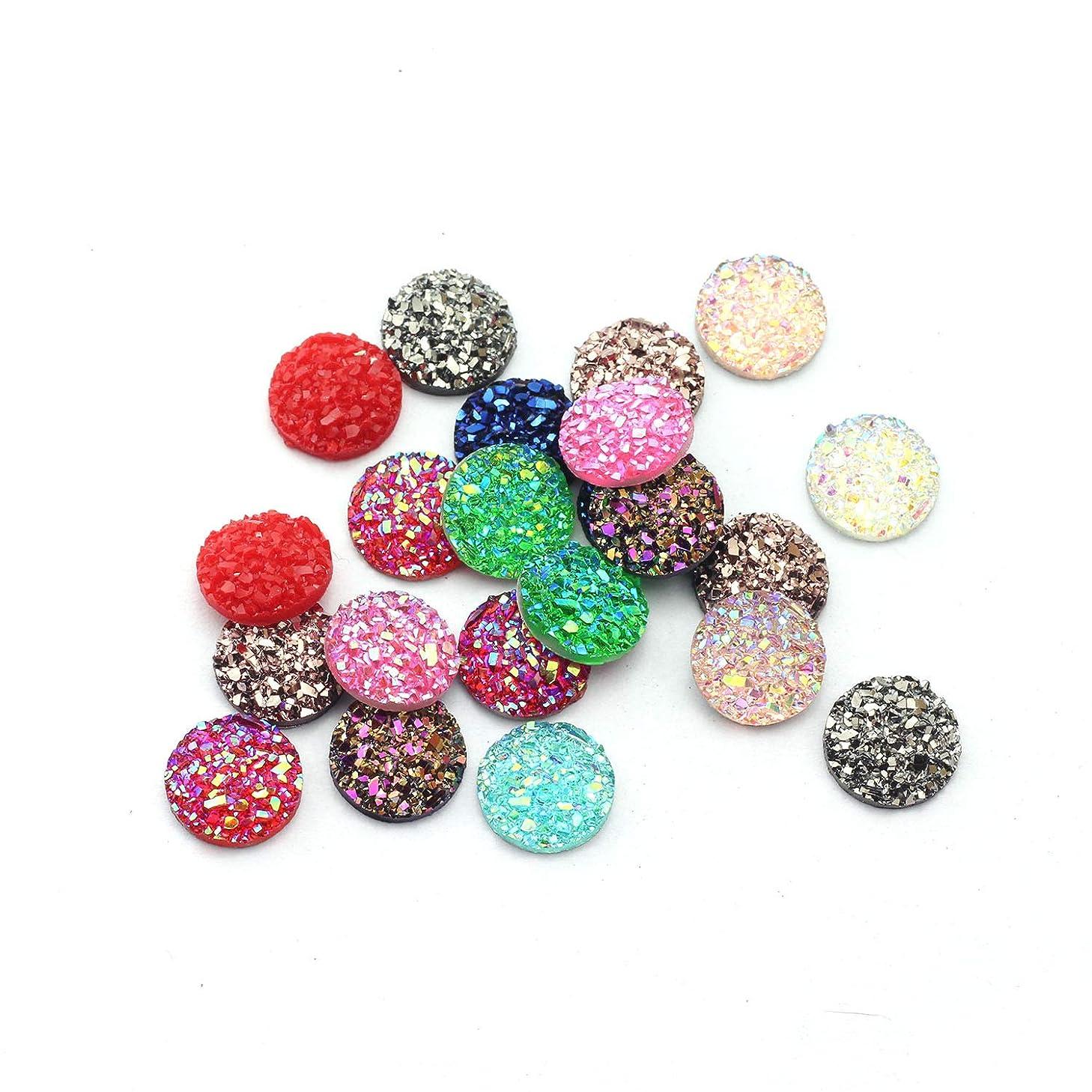 NX Garden 100PCS 10mm Colorfull Round Resin Rhinestone Diamante Flat Back Bubble Stick on Sparkle Gems Bling for DIY