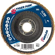 Weiler 51104 Tiger Paw High Performance Abrasive Flap Disc, Type 29 Angled Style, Phenolic Backing, Zirconia Alumina, 4