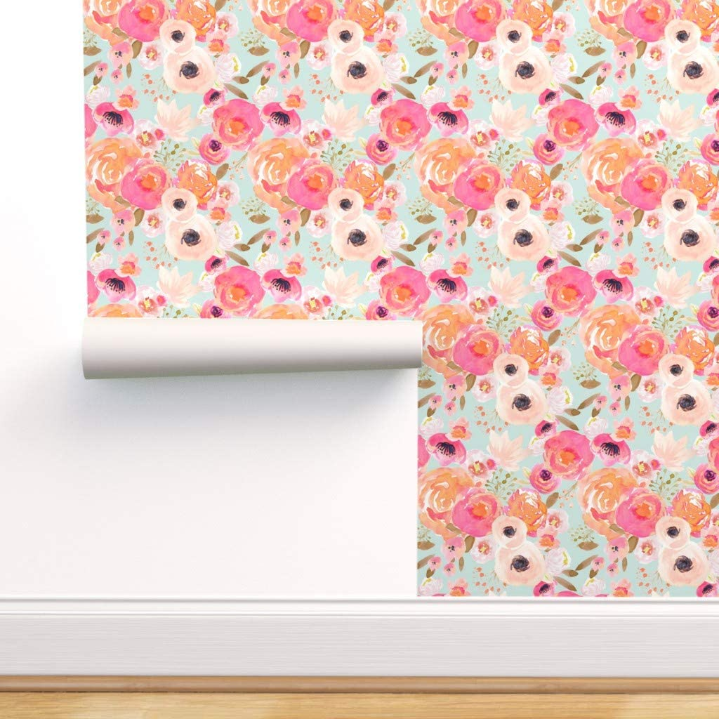 Spoonflower Pre-Pasted Removable ☆送料無料☆ 当日発送可能 Wallpaper ハイクオリティ Florals Blush Floral