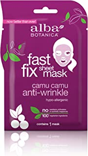 Alba Botanica Fast Fix Sheet Mask, Camu Camu Anti-Wrinkle, Pack of 8