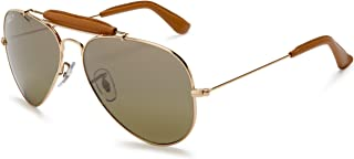 Ray-Ban RB3422Q Outdoorsman Craft Aviator Sunglasses, Gold & Light Brown Leather/Polarized Green Gradient, 58 mm