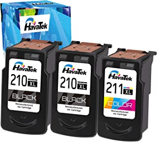 HavaTek Remanufactured PG-210XL CL-211XL Ink Cartridge Replacement for Canon 210XL 211XL to Use with Pixma MX410 MX350 MP250 MP240 iP2700 MP495 MX330 MX340 MP280 MP480 MP490 Printer (2 Black, 1 Color)
