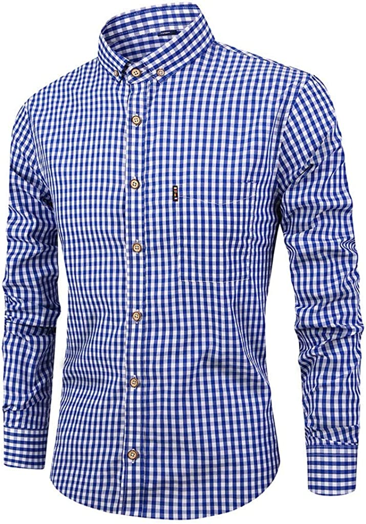 Men's Long Sleeve Button Down Shirt, Regular Fit Casual Plaid Dress Shirt Top for Evening Party