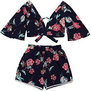 2a7fc9d40c813 V Collar Top Casual Two Piece Set Women Botanical Print Summer V Collar