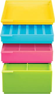 SiliconeZone Cubes N Tubes Stackable Silicone Ice Box Set with 4 Nesting Trays, Multicolored