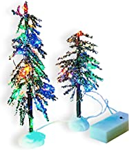 BANBERRY DESIGNS LED Christmas Decor Trees - Set of 2 LED Lighted Tabletop Xmas Trees for Holiday Village Setup - Colorful...