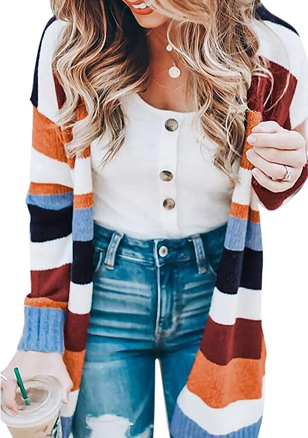Women's Casual Open Front Knit Cardigan Long Sleeve Sweater Coat with Pocket