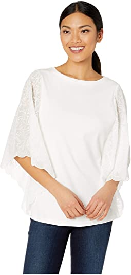 Solid Jersey Crew Neck Embroidered Lace Sleeve
