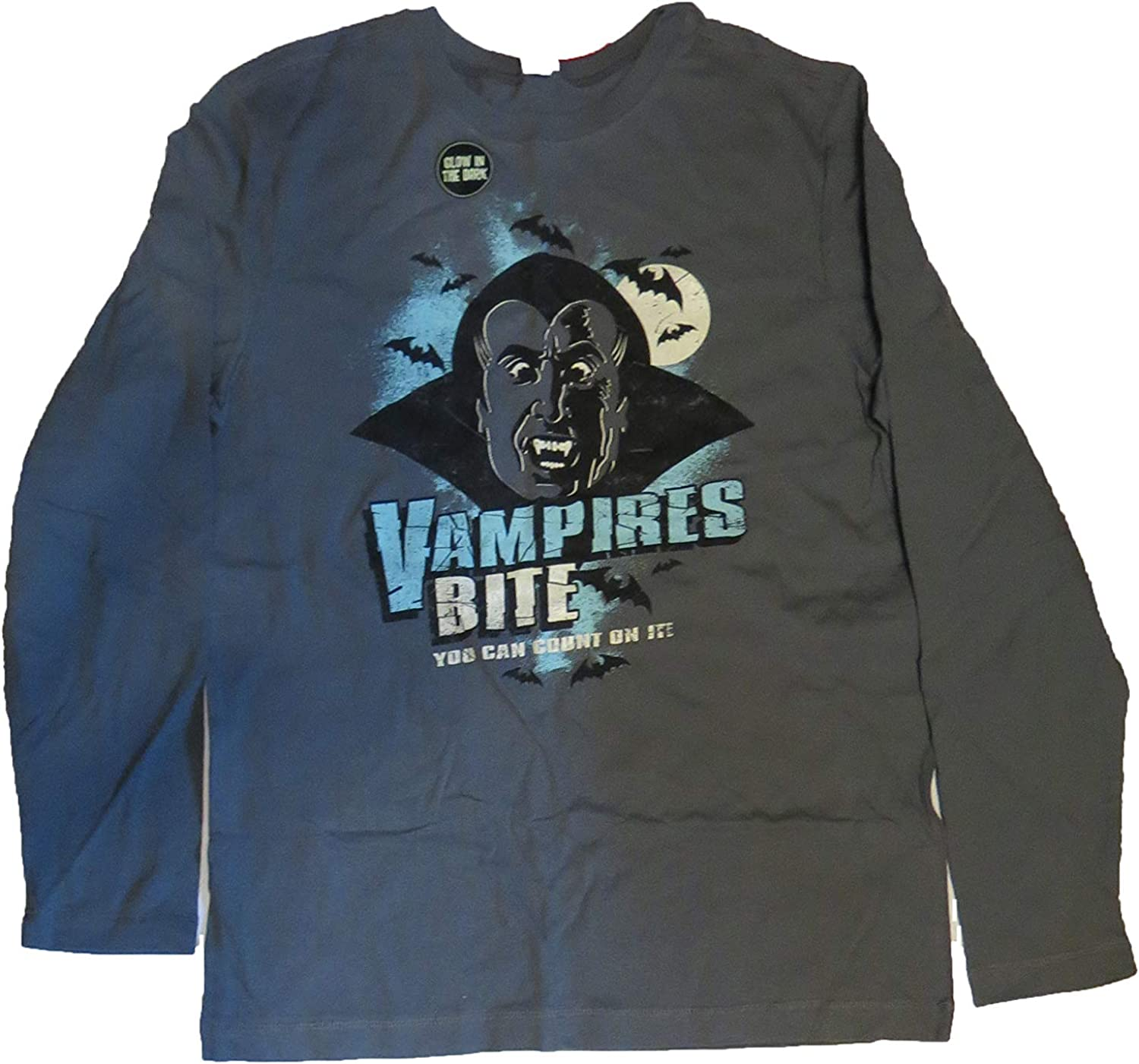 Halloween Vampires Bite You can Count on it Boys Tshirt Long Sleeve XL 16/18 Gray