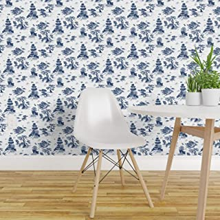 Spoonflower Peel and Stick Removable Wallpaper, Blue Willow Toile Temple Trees Bird Garden Asian Print, Self-Adhesive Wallpaper 12in x 24in Test Swatch