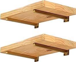 Plankdrager, metaal, goud, 40 cm, 4 stuks drijvende plankhouders voor wandrek, doe-het-zelfmontage, vierkante plankconsole...