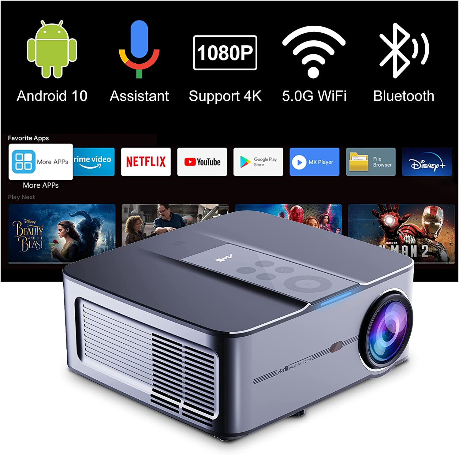 Smart Projector depot 4k Supported Artlii Play3 shopping 5G Native WiFi 1080P