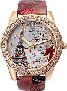 Etbotu Quartz Watch,Eiffel Tower Watch with Heart Pattern,for Girl