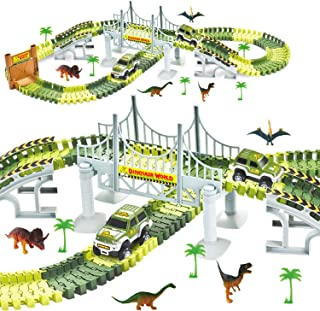 ToyVelt Dinosaur Toys Race Track Toy Set - 206pcs Create A Dinosaur World Road Race,Flexible Track Playset - Includes 2 Cars Best Gift for Christmas Boys & Girls Ages 3,4,5,6, Years Old