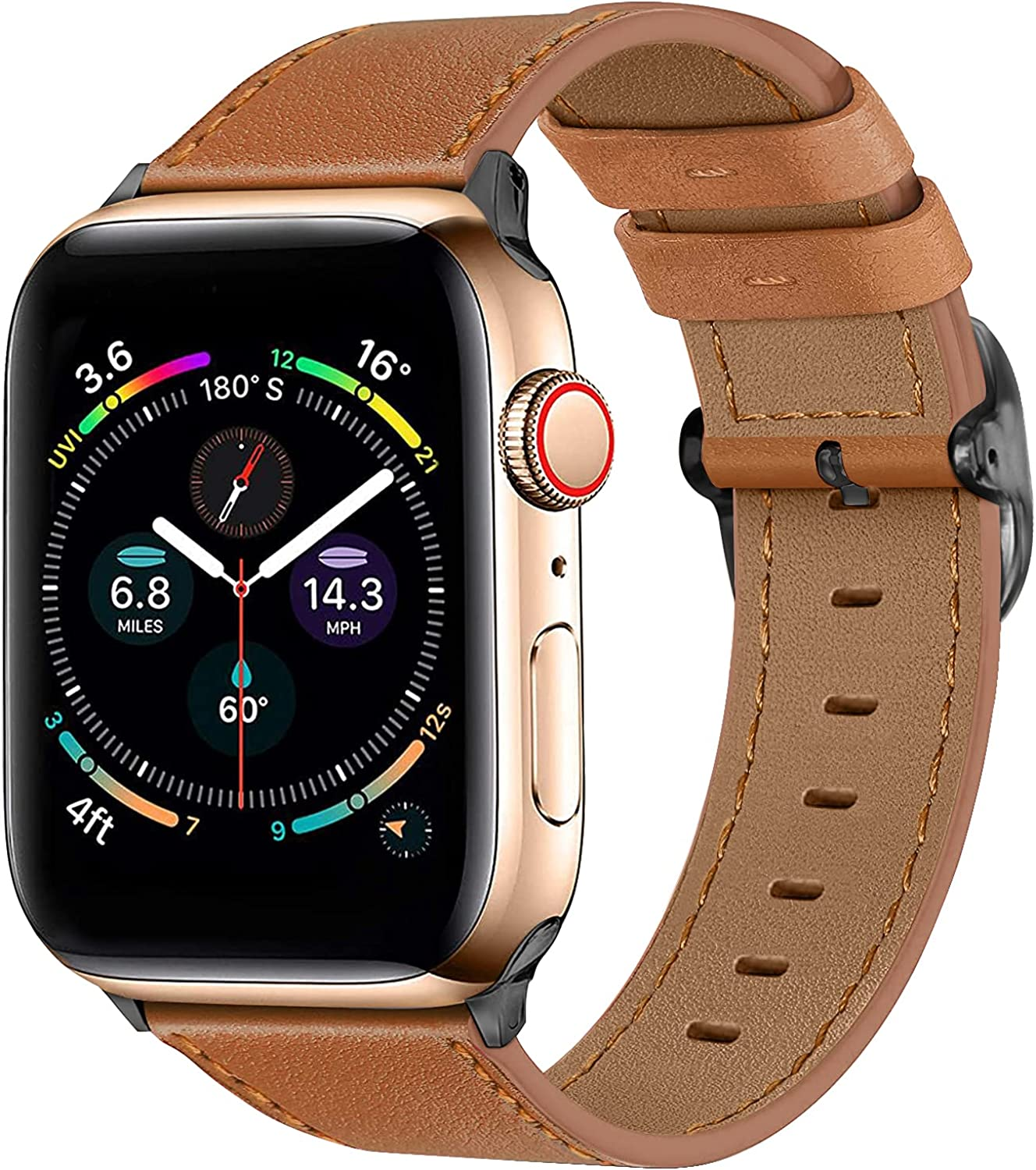 IFECCO Leather Bands Compatible with Apple Watch Band 38mm 40mm 42mm 44mm, Vintage Genuine Leather Adjustable Replacement Strap Women Men for iWatch SE & Series 6 5 4 3 2 1