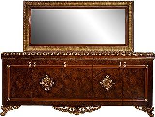 Casa Padrino Conjunto de Muebles barrocos aparador con Espejo marrón/Bronce/Oro - Noble Mueble de Madera Maciza con Elegan...