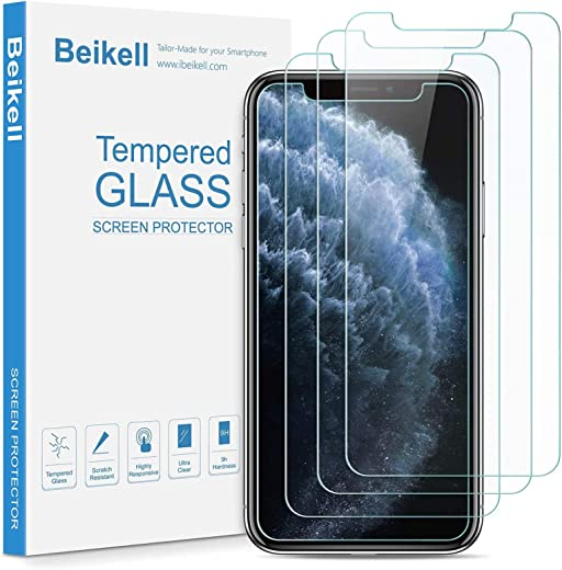 Beikell [4 Stück] Schutzfolie Kompatibel mit iPhone 11 Pro Max, iPhone XS Max [6,5 Zoll], Displayschutzfolie mit Installationsanleitung, 9H Härte,…