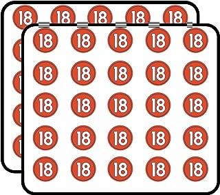 Round #18 Peyton Manning Denver Colors (Number 18 Broncos) Sticker for Scrapbooking, Calendars, Arts, Kids DIY Crafts, Album, Bullet Journals