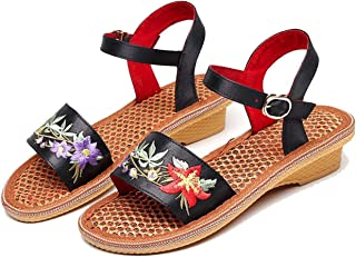 Summer-lavender Low Wedges Cotton Fabric Open Toe Embroider Heel Height 3 cm Convenience Leisure Women Sandals