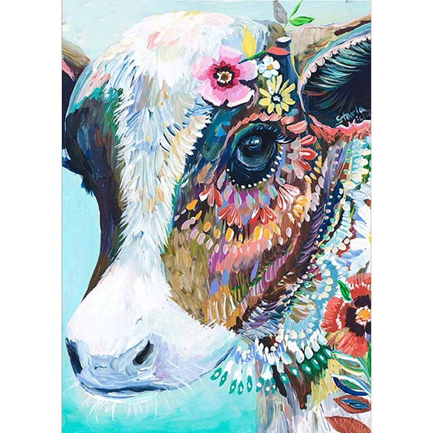 DIY 5D Diamond Painting by Number Kits, Diamond Embroidery Paintings Pictures Arts Craft for Home Wall Decor, Full Drill, 12x16in Colorful Cow mneuxzxzjsvir583