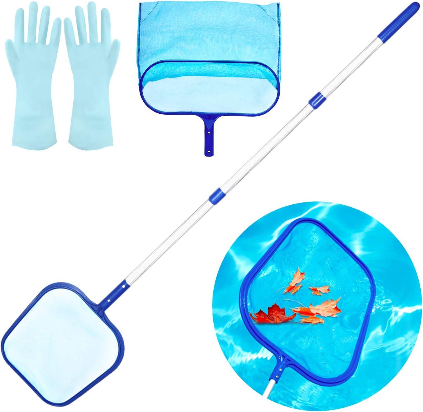 Familybox Recogehojas para Piscinas, Red de Piscina Ajustable Retirable, Kits de Mantenimiento con Red de Malla Fina, Mango de Aluminio y Bolsa para Piscinas, Estanques, Hidromasaje, SPA, Fuente