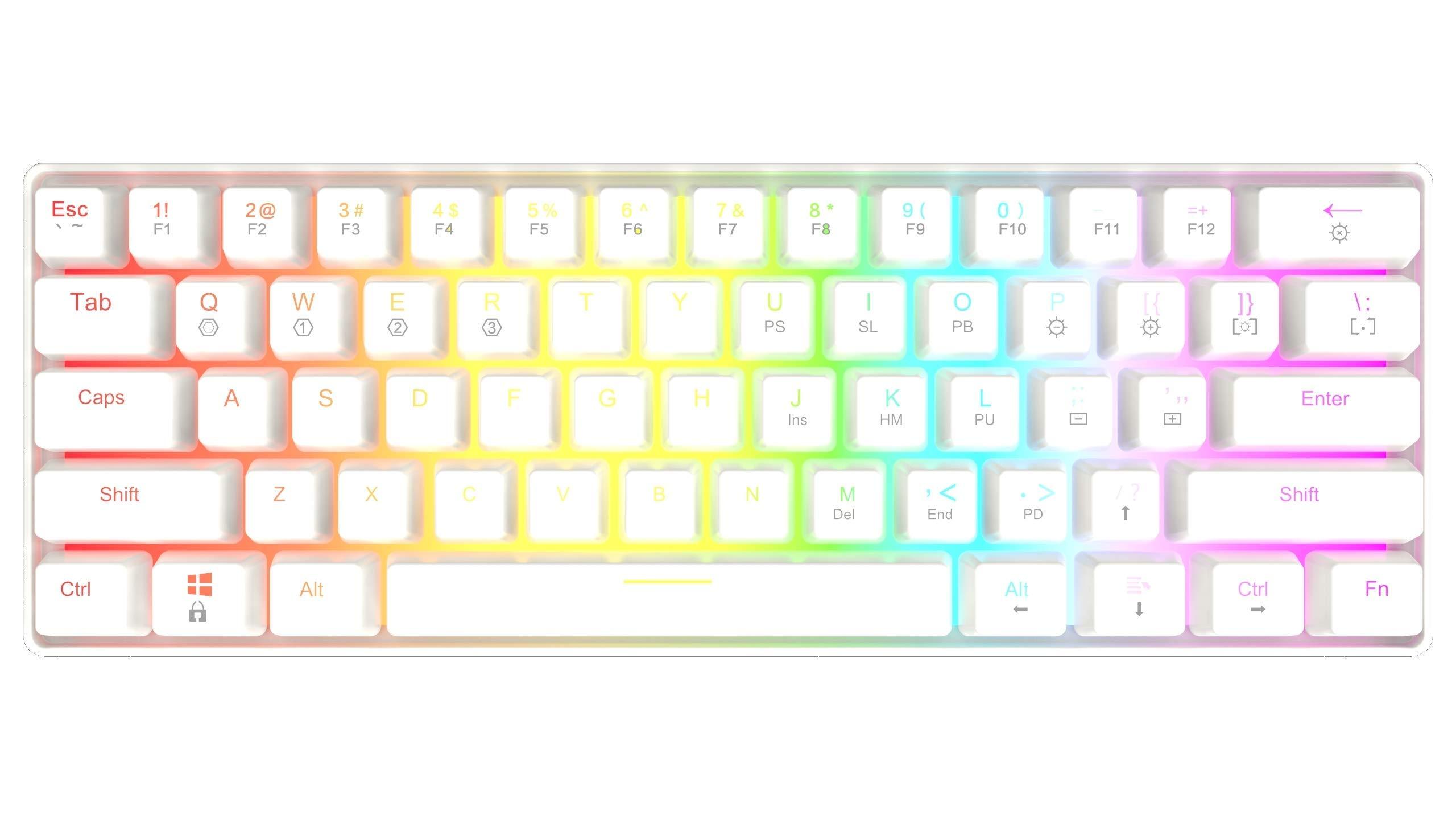 HK Gaming GK61 Teclado mec/ánico 61 teclas RGB iluminado para juegos PC//Mac Gamer Blanco , Gateron Optical Red retroiluminaci/ón LED