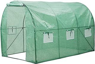 Finether-Invernadero Arqueado con 6 Respiraderos de Malla y Tapa Transparente, Ideal para Jardín