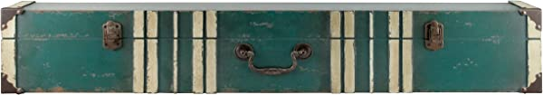 MCS 45885 Vintage Suitcase Wall Shelf In Distressed Aqua Finish With Cream Accent 36 36 Inch