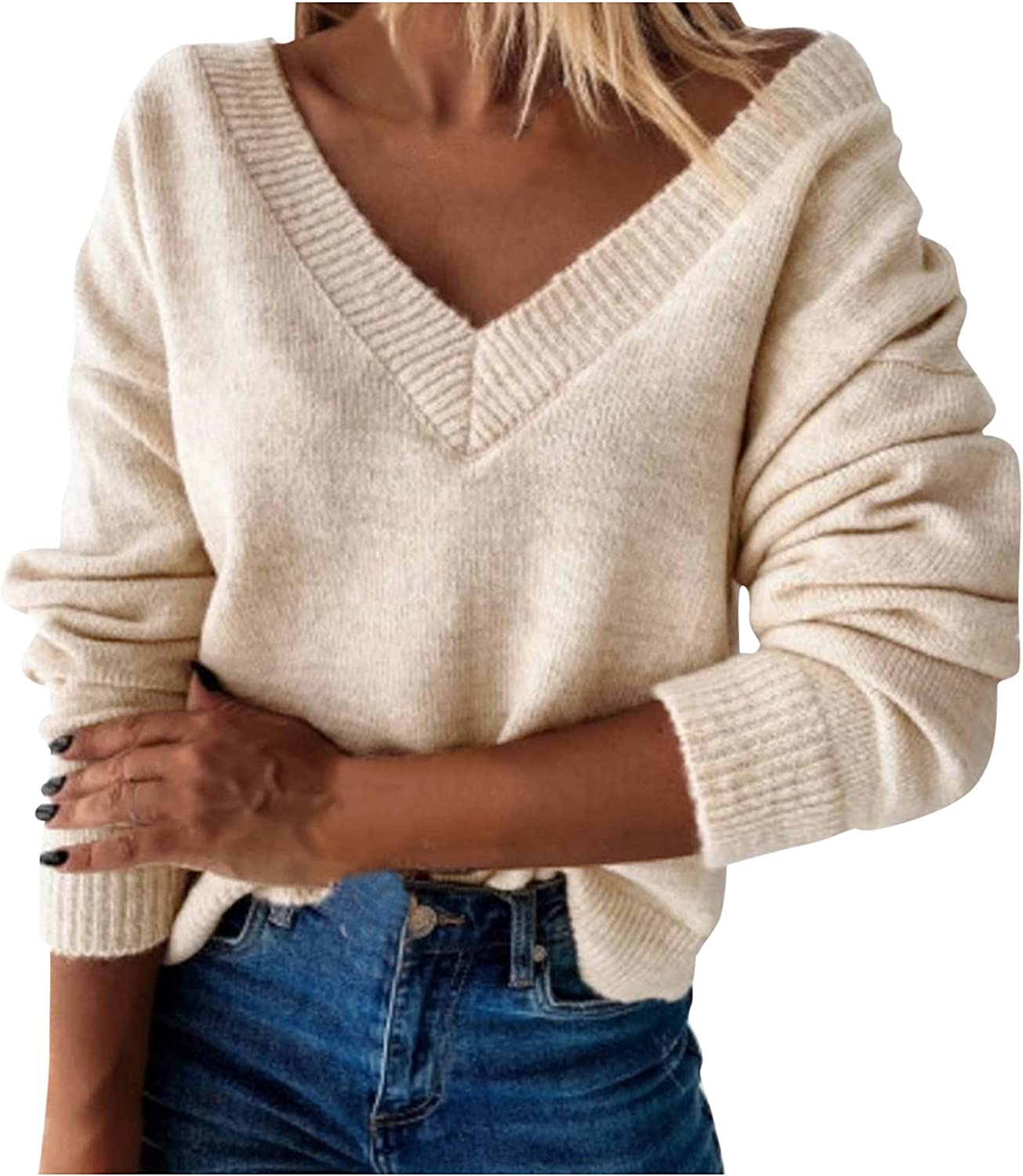 Free shipping on posting reviews Womens V Neck Sweaters Solid Sleeve Knitted Color Long Max 54% OFF Pullover