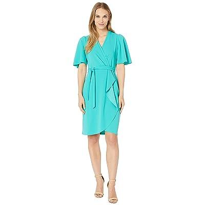 Donna Morgan Crepe Faux Wrap w/ Flutter Sleeve (Seagreen) Women