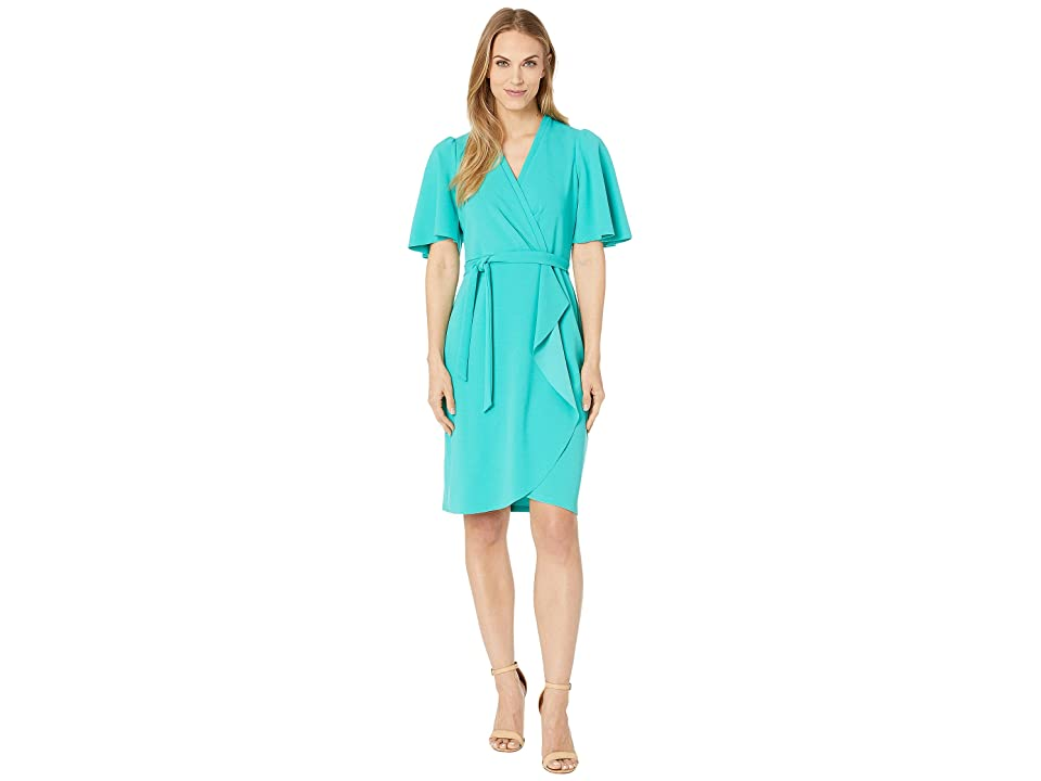 91e165ac8dc Donna Morgan Crepe Faux Wrap w  Flutter Sleeve (Seagreen) Women