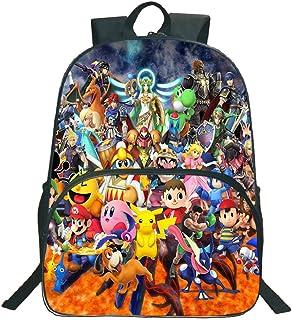 Super Mario Smash Bros School Mochila, Niños Niños Niñas Moda Patrón de Colores Adolescentes Mochila para portátil