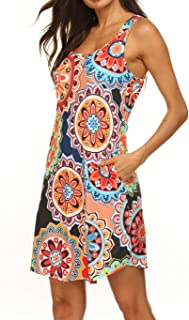 Womens Casual Scoop Neck Sleeveless/Long Sleeve Tunic Dress with Pockets