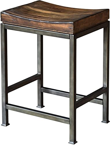 2021 Uttermost 25441 Beck Industrial Backless Solid discount Hardwood and sale Iron Counter Stool online