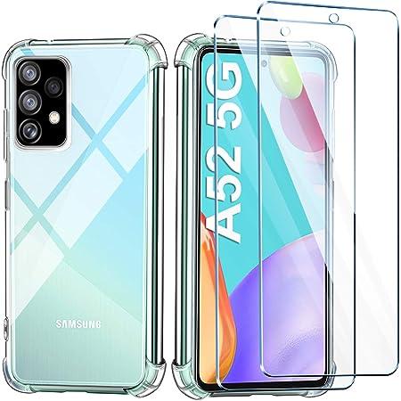 Leathlux Coque Compatible avec Samsung Galaxy A52 5G 4G Transparente avec 2 Verre trempé Protection écran, Souple Silicone Étui Protection Antichoc Bumper Housse TPU Téléphone Case Cover