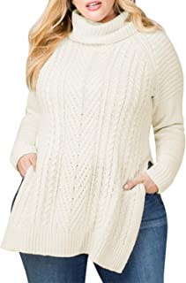 Women Plus Size Turtleneck Irish Cable Knit Aran Sweater