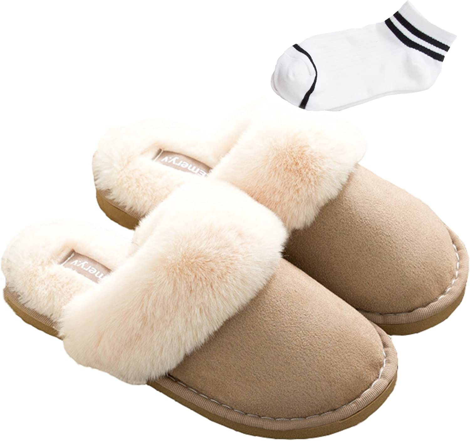 Ufoyer Women's Slip On Slippers with Warm and Comfy Faux Fur and Fluffy Suede for Winter+Womens Socks