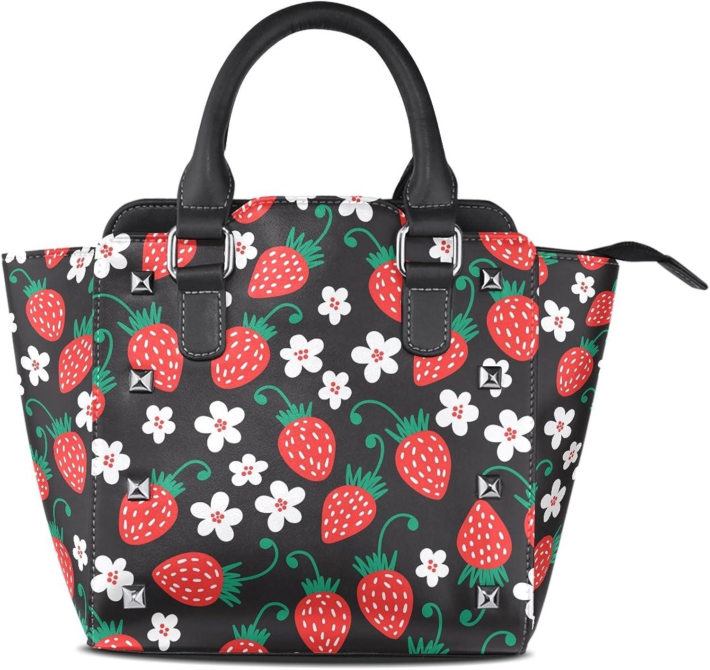 My Little Nest Women's Top Handle Satchel Handbag Red Strawberry Ladies PU Leather Shoulder Bag Crossbody Bag
