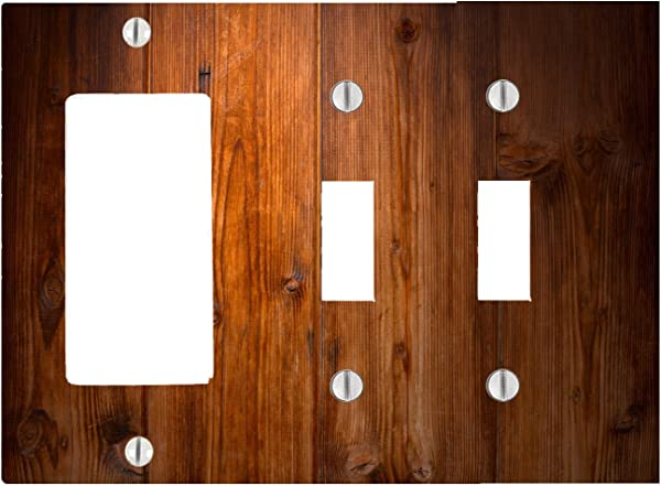 Wood Rustic Wooden Background 3 Gang 2 Toggle 1 Dimmer Decorator Electrical Switch Wall Plate 6 56 X 4 69in