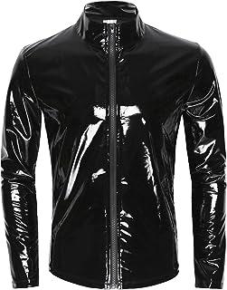 iiniim Men's Shiny Metallic Leather Long Sleeve Stand Collar Lightweight Outwear Jacket Coat