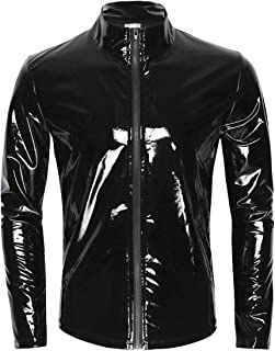 iiniim Men's Shiny Metallic Leather Long Sleeve Stand Collar Lightweight Outwear Jacket Coat